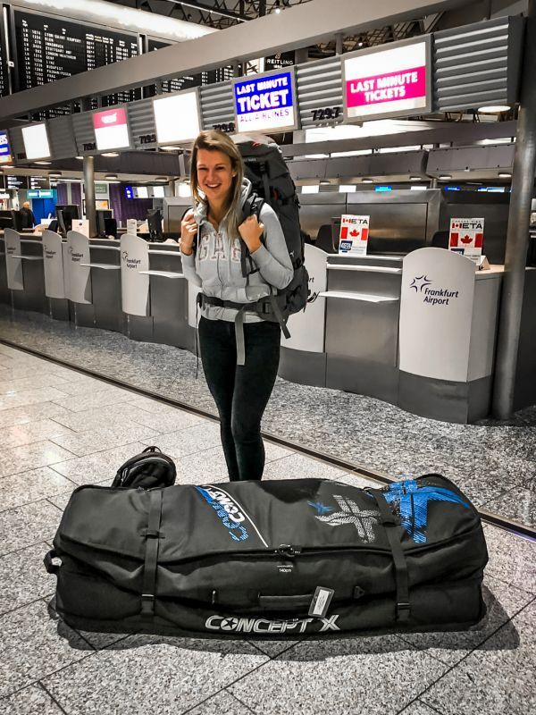 Auf dem Weg nach Brasilien - es geht los, mit Kitebag!